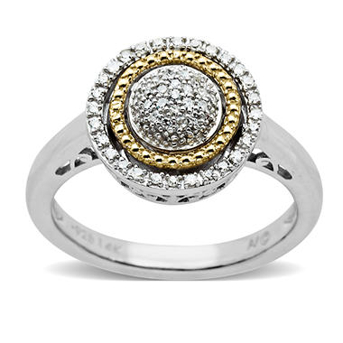 0.12 CT. T.W. Diamond Birthstone Ring in Sterling Silver and 14K Yellow Gold (H-I, I1)