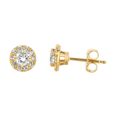 0.50 CT. T.W. Round-Cut Diamond Halo Earrings in 14K Yellow Gold (I, I1)