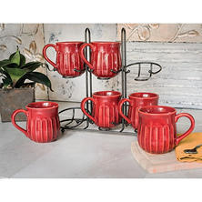Stoneware Fluted Mugs, Set of 6 with Display Stand (Assorted Colors)