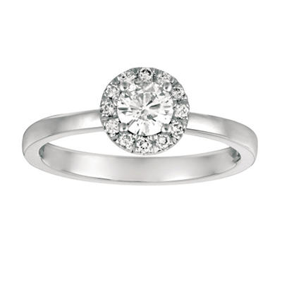 0.50 CT. T.W. Round-Cut Diamond Halo Ring in 14K White Gold (I, I1)