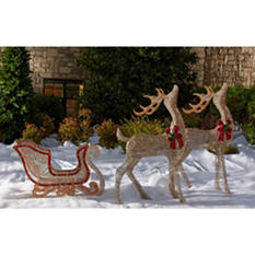 Glittering Champagne Reindeer Pair with Sleigh