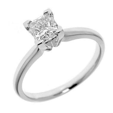 0.72 ct. Princess-Cut Diamond Solitaire in 14k White Gold (H-I, SI2)
