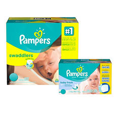 Pampers Swaddlers Diaper and Wipe Bundle (Choose Your Size)