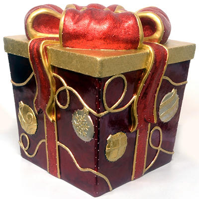 "Decorative Gift Box With Fiber Optic Lights - 17"""