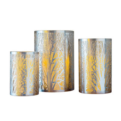 Set of 3 Metal Laser-Cut Candle Holders, Silver