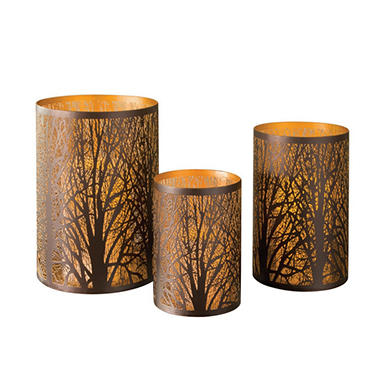 Set of 3 Metal Laser-Cut Candle Holders, Bronze