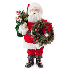 Fabric Santa with Wreath - 32""