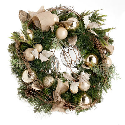 "Decorated Christmas Wreath, Natural Wonder (32"")"