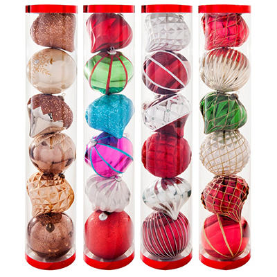 6 Count Jumbo Shatterproof Ornament Set (5.9 Inches Each) - Choose Your Style