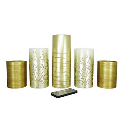 5 Piece LED Flameless Decorative Candle Set with Remote, Bronze