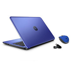 "HP 15.6"" Touch Notebook Bundle, AMD A8-7410, 8GB Memory, 750 GB Hard Drive - Blue"