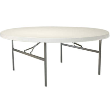 Lifetime 6' Round Folding Table - White Granite - 12 pack