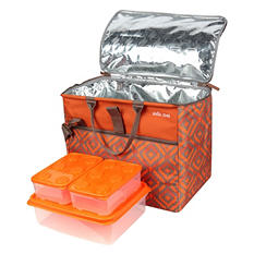 Arctic Zone Insulated Expandable Duffel With 6-Piece Food Container Set - Assorted Colors
