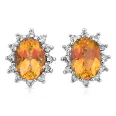 Oval Cut Citrine and White Topaz Earrings in 14K White Gold