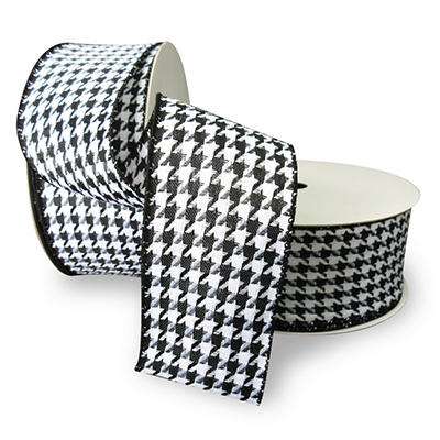 """Premium Wired Woven 2.5"""" Ribbon, Houndstooth with Black Edge - 2 pk. (50 yds. each)"""