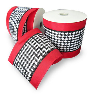 "Premium Wired Woven 5"" Ribbon, Houndstooth with Red Border and Black Edge - 2 pk. (25 yds. each)"