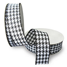 "Premium Wired Woven 1.5"" Ribbon, Houndstooth with Black Edge - 2 pk. (50 yds. each)"