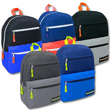 Trailmaker 17 Inch Backpack, 3 Pockets, 4 Color Assortment, 24ct.