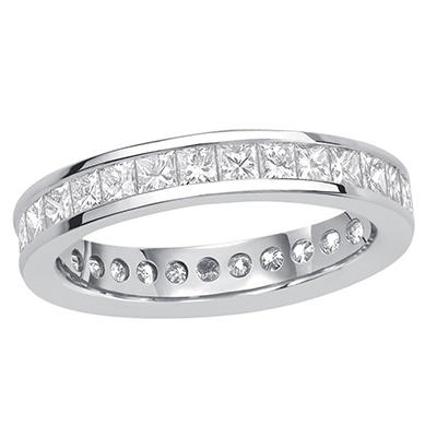 2.00 CT. TW. Princess Cut Channel Set Eternity Band - 14K White or Yellow Gold