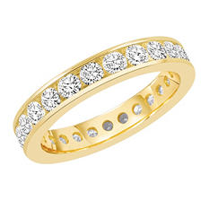 1.50 CT. TW. Round Cut Channel Set Eternity Band - 14K White or Yellow Gold