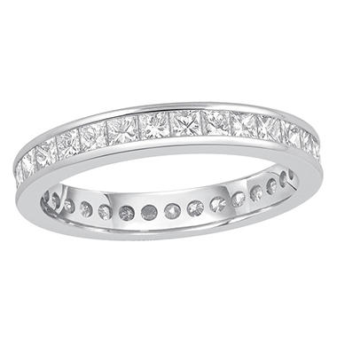 1.50 CT. TW. Princess Cut Channel Set Eternity Band in White or Yellow Gold