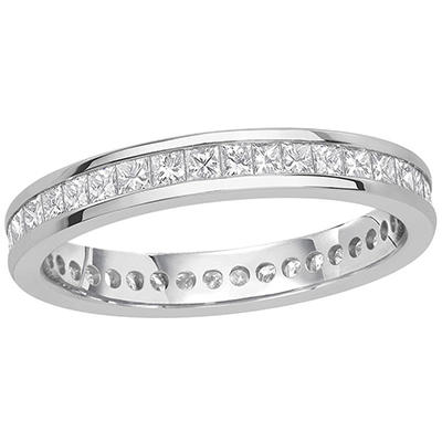 1.00 CT. TW. Princess Cut Channel Set Eternity Band - 14K White or Yellow Gold