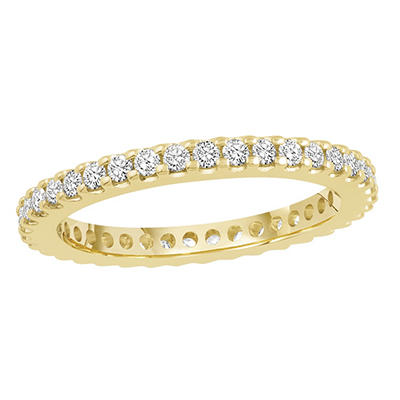 0.50 CT. TW. Round Cut Prong Set Eternity Band - 14K White or Yellow Gold