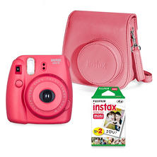 Fujifilm Instax Mini 8 Camera Bundle with a Groovy Camera Case and Instax Mini Film Twin Pack - Various Colors