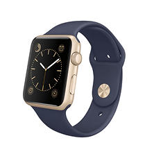 Apple Watch Sport - 42mm Gold Aluminum Case - Midnight Blue Sport Band