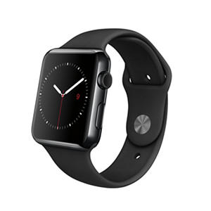 Apple Watch - 42mm Space Black Stainless Steel Case - Black Sport Band