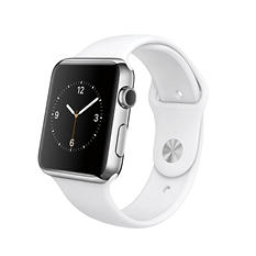 Apple Watch Series 1- 42mm Stainless Steel Case - White Sport Band