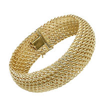 Click here for Italian 14K Yellow Gold 3 Row Woven Bracelet prices
