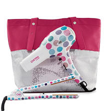 CHI Darling Dot Ceramic Hairstyling Iron and Hair Dryer Bundle