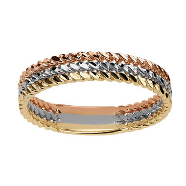 Triple-Row Ring in 14K Gold