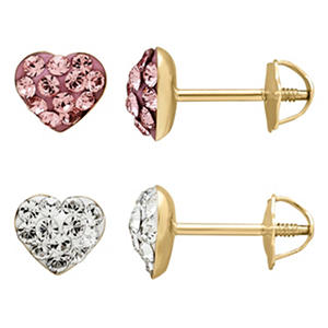 Children's 14K Yellow Gold Crystal Heart Stud Earring Set