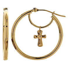 14K Yellow Gold Hoop Earrings with Cross Dangle