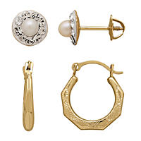 Children's Pearl and Crystal Stud Earrings and 14K Yellow Gold Hoop Set