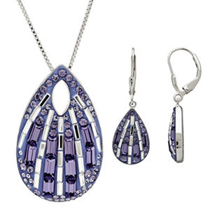 Sterling Silver Swarovski Elements 2 Piece Teardrop Set