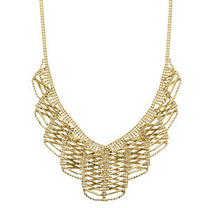 14K Yellow Gold Crisscross Beaded Drop Necklace