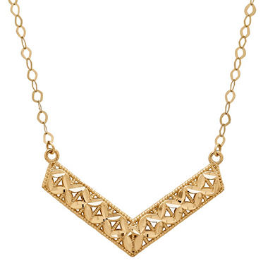 14K Yellow Gold Chevron Cable Chain