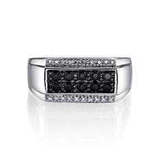 Men's Black Sapphire And Diamond Accent Ring