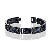 Men's Titanium and Blue Carbon Fiber Bracelet