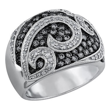 1.00 ct. t.w. Diamond Swirl Ring in Sterling Silver (I & Silvermist, I1)