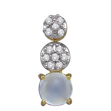 0.25 ct. t.w. Diamond and Cabochon Moonstone 14K Yellow Gold Earrings (I, I1)