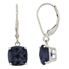 8 mm Cushion Cut Onyx Dangle Leverback Earrings in 14K White Gold (4.0 ct. t.w.)