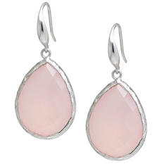 Amena K Sterling Silver Pink Chalcedony Teardrop Earrings