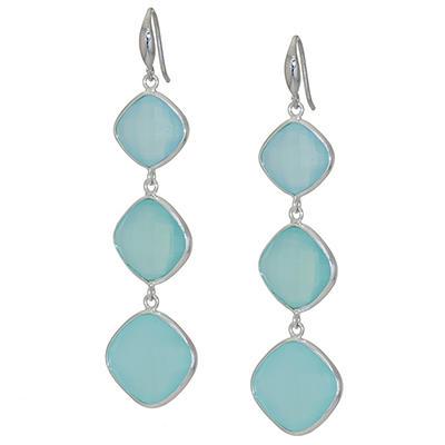Amena K Sterling Silver Aqua Blue Chalcedony Dangle Earrings
