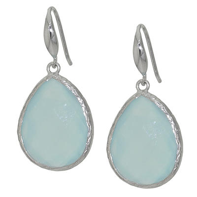 Amena K Sterling Silver Aqua Blue Chalcedony Teardrop Earrings