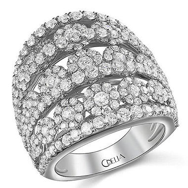 3.13 ct. t.w. Diamond Flower Cluster Ring in 18k White Gold (G-H, SI)