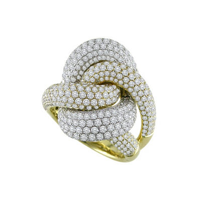4.00 ct. t.w. Diamond Ribbon Ring in 18k Tri-Color Gold (H-I, SI)